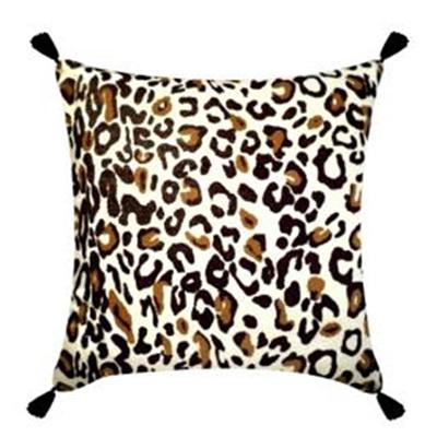 Leopard Print Cushion W/ Tassels 45x45cmh