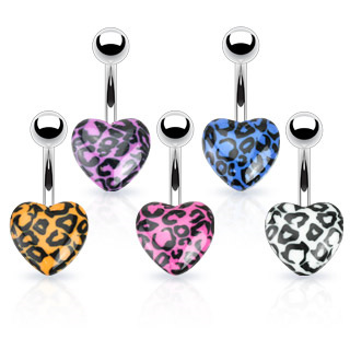Leopard Print Heart Navel Bar