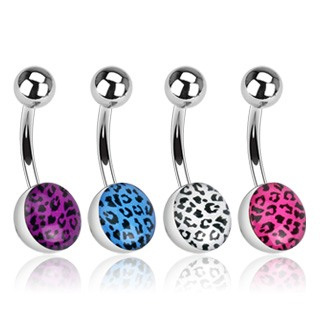 Leopard Skin Epoxy Navel Bar