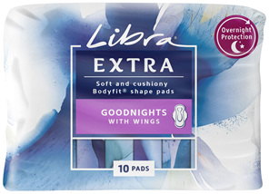 Libra Extra Pads Goodnights with Wings 10 pack