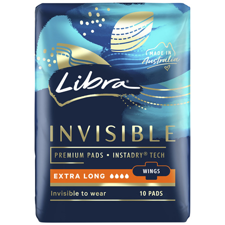 Libra Invisible Pads Extra Long with Wings 10 pack
