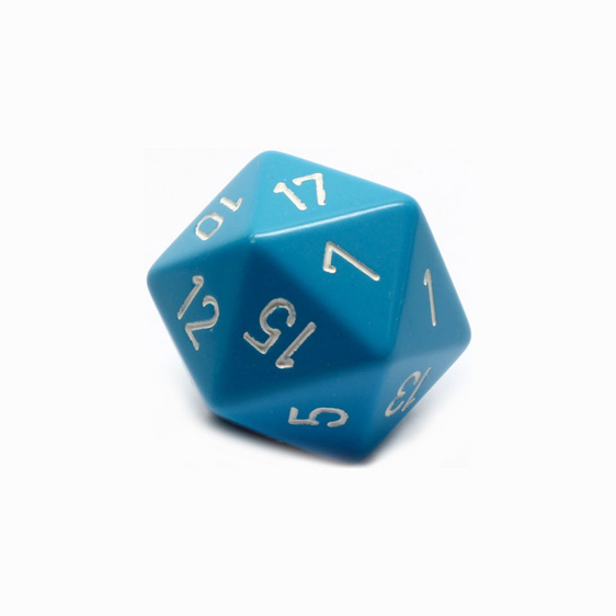 Light Blue & White Large 34mm Twenty Sided Dice Games and Hobbies New Zealand NZ