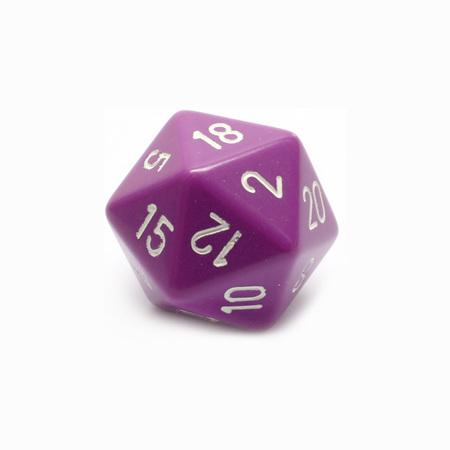 Light Purple with White Large Twenty Sided Dice