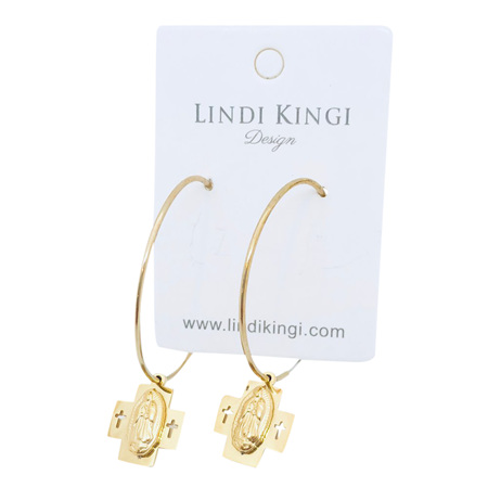 LINDI KINGI DOUBLE CROSS SAINT HOOPS GOLD