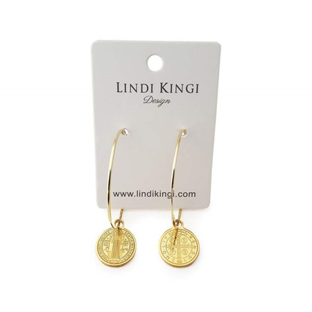 LINDI KINGI SAINT CHARM HOOP EARRINGS GOLD