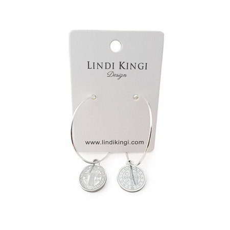LINDI KINGI SAINT CHARM HOOP EARRINGS SILVER