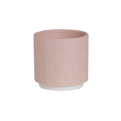 Lined Ceramic Gloss Plant Pot - Pink