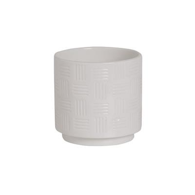 Lined Ceramic Gloss Plant Pot - White