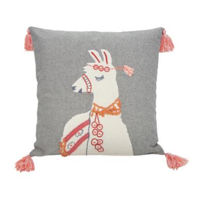 Lisa Llama Cushion - Coral & Grey 45x45cm