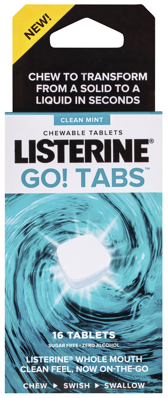 Listerine Go! Tabs Chewable Tablets Clean Mint 16 Pack