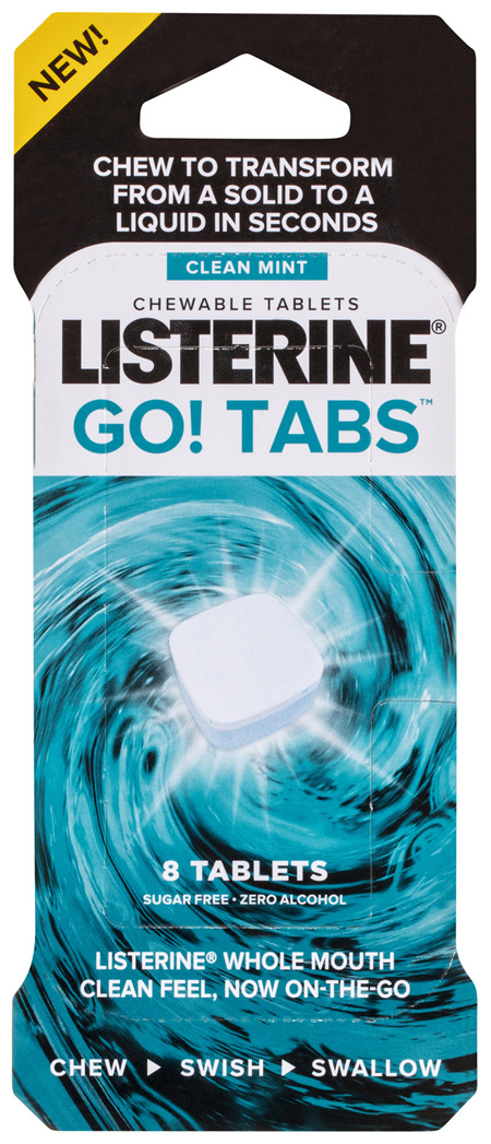 Listerine Go! Tabs Clean Mint Chewable Tablets 8 Pack