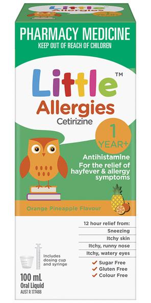 Little Allergies Cetirizine Antihistamine Orange Pineapple 100mL