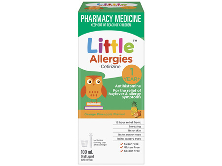 Little Allergies Cetirizine Antihistamine Orange Pineapple 100mL