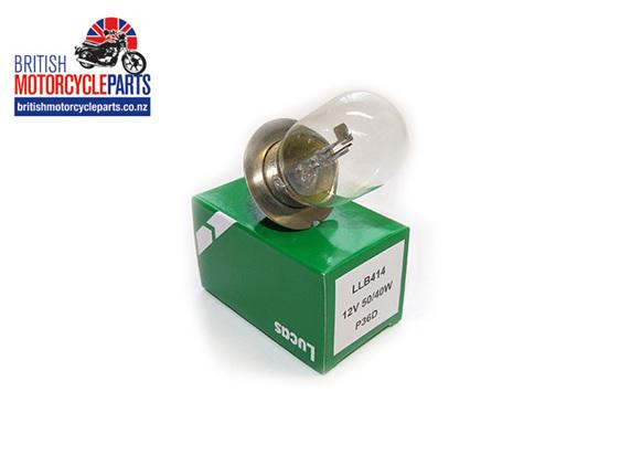 LLB414 Lucas Headlight Bulb 12V 50/40W BPF - British Motorcycle Parts Ltd - Auck