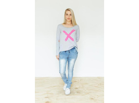 LONG SLEEVE TEE GREY WITH PINK X SIZE16