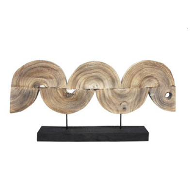 Long Wave Wood Carved Sculpture/90x45cmh