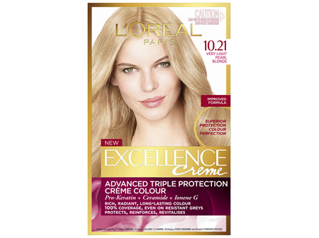 L'Oréal Paris Excellence Permanent Hair Colour - 10.21 Very Light Pearl Blonde (100% Grey Coverage)