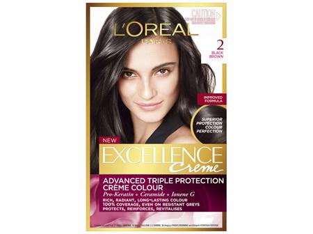 L'Oréal Paris Excellence Permanent Hair Colour - 2 Black Brown (100% Grey Coverage)