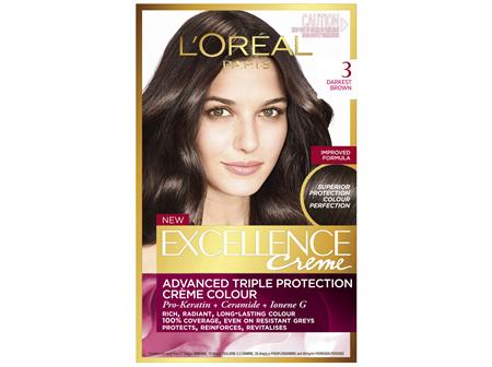 L'Oréal Paris Excellence Permanent Hair Colour - 3 Darkest Brown (100% Grey Coverage)
