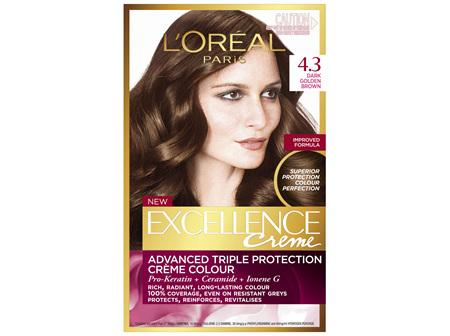 L'Oréal Paris Excellence Permanent Hair Colour - 4.3 Dark Golden Brown (100% Grey Coverage)