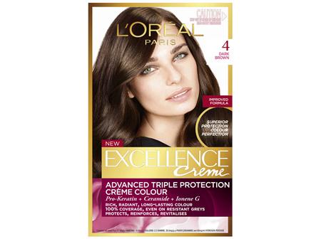 L'Oréal Paris Excellence Permanent Hair Colour - 4 Dark Brown (100% Grey Coverage)