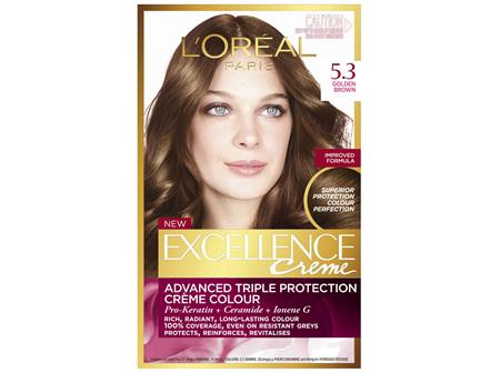 L'Oréal Paris Excellence Permanent Hair Colour - 5.3 Golden Brown (100% Grey Coverage)