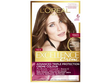 L'Oréal Paris Excellence Permanent Hair Colour - 6 Light Brown (100% Grey Coverage)