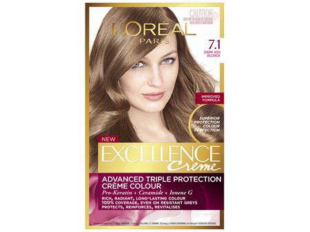 L'Oréal Paris Excellence Permanent Hair Colour - 7.1 Dark Ash Blonde (100% Grey Coverage)