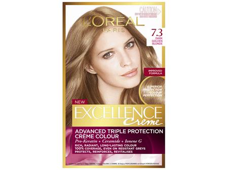 L'Oréal Paris Excellence Permanent Hair Colour - 7.3 Dark Golden Blonde (100% Grey Coverage)