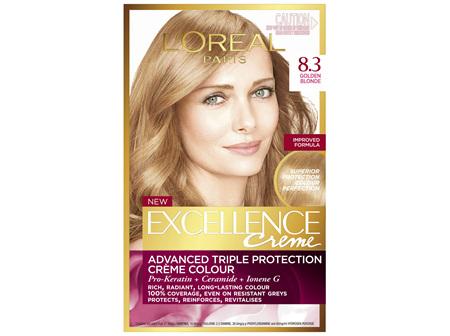 L'Oréal Paris Excellence Permanent Hair Colour - 8.3 Golden Blonde (100% Grey Coverage)