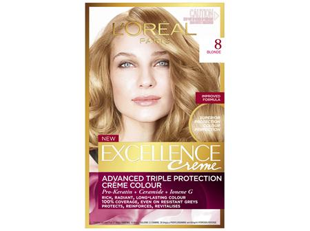 L'Oréal Paris Excellence Permanent Hair Colour - 8 Blonde (100% Grey Coverage)