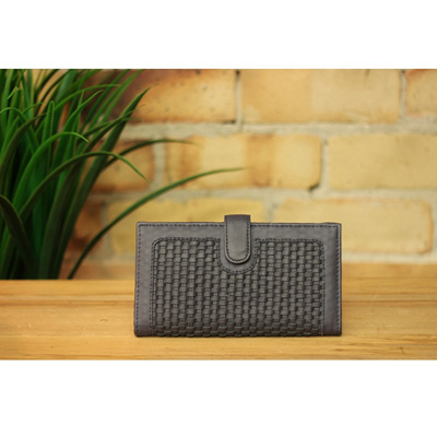 Los Angeles - Handwoven Leather Wallet/Charcoal