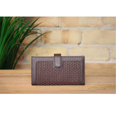 Los Angeles - Handwoven Leather Wallet - Chocolate