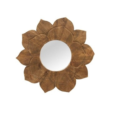 Lotus Wooden Mirror - Natural - 92cmd