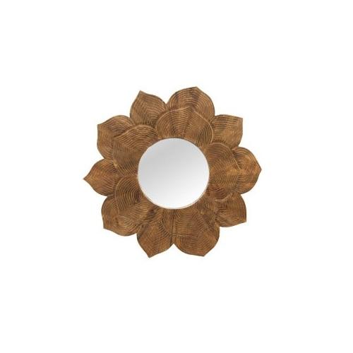 Lotus Wooden Mirror - Natural - 92cmd