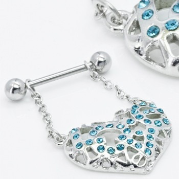 Love Heart Aqua Nipple Dangle