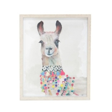 Lrg Lola Llama Print - 2mm Pvc Glass Framed - 90x120cm