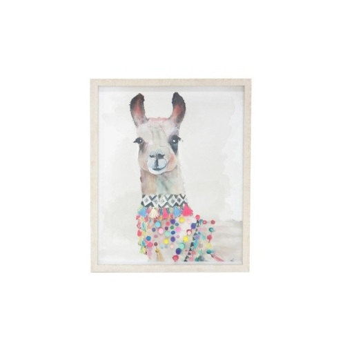 Lrg Lola Llama Print - 2mm Pvc Glass Framed - 90x120cm