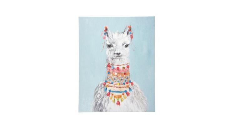 Luca Llama Canvas Print W Pom Pom Embellishment - 80x100cm