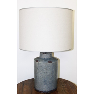 Lulu Ceramic Table Lamp - Crackle Blue Glaze