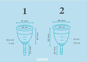 Lunette Reusable Menstrual cup Blue Size 1