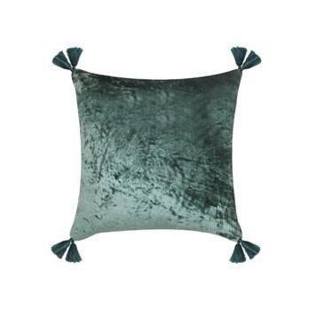 Lush Velvet Cushion w/ Tassels - Green - 45x45cmh