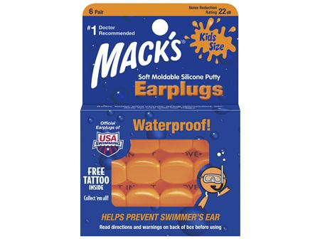 MACKS Swim Ear Plugs Kids 6 pair