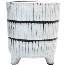 Maha Ceramic Planter - Black & White 14.5cm
