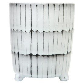 Maha Ceramic Planter - Black & White 20cm