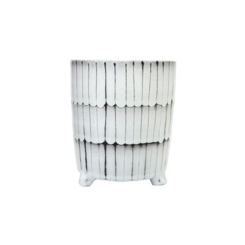 Maha Ceramic Planter - Black & White 20cm