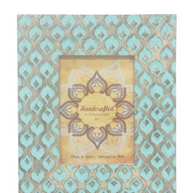 Maha Wooden Carved Photo Frame 5x7 - Turquoise