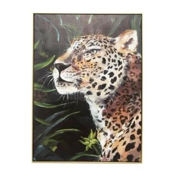 Majestic Leopard Print W Gold Frame - 70x100cm