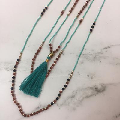 Mala Layered Tassel Necklace - Teal