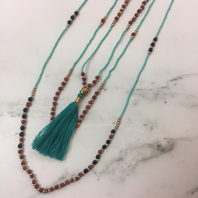 Mala Layered Tassel Necklace - Teal WAS $39.90